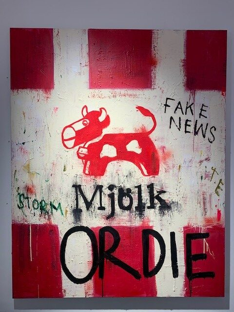 """Milk or Die"" mixed media på duk 150x120cm"
